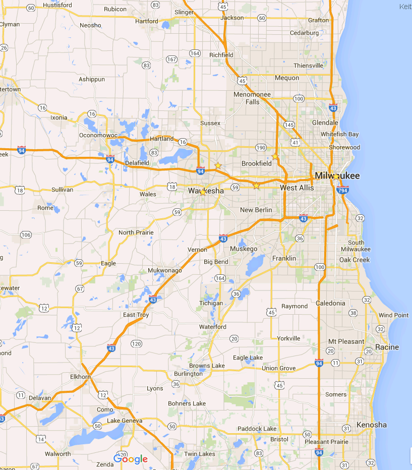 map showing Southeastern Wisconsin White Doves Releases & Displays Service area